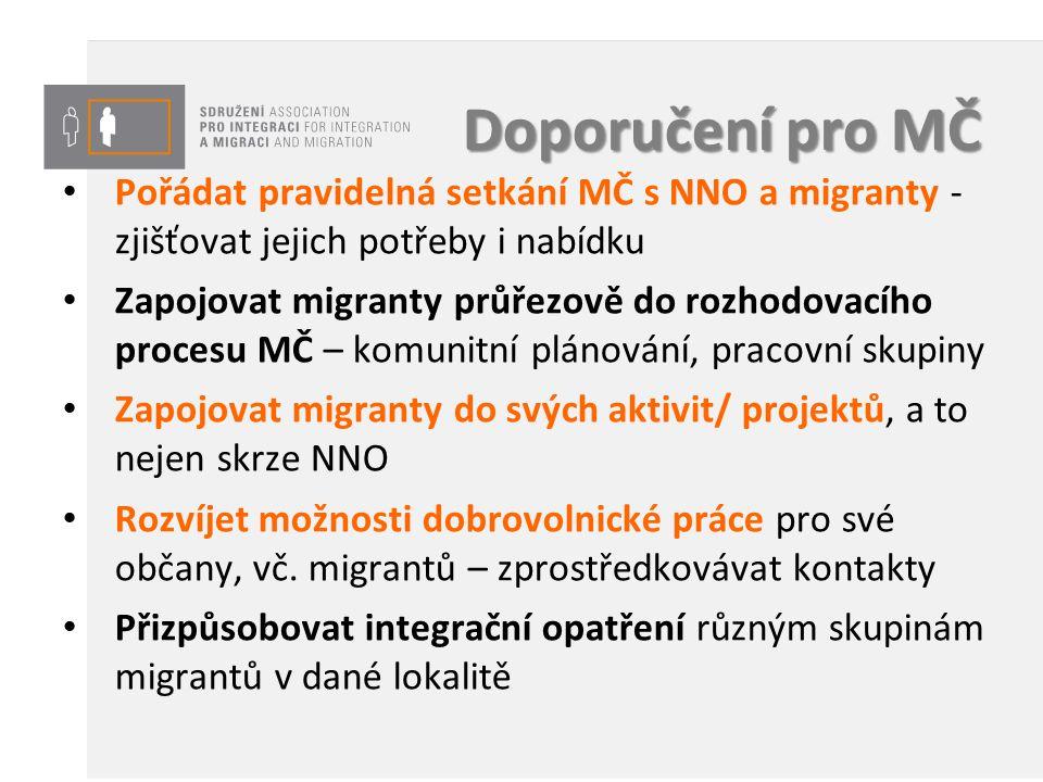 Doporučení pro MČ Pořádat pravidelná setkání MČ s NNO a migranty - zjišťovat jejich potřeby i nabídku.