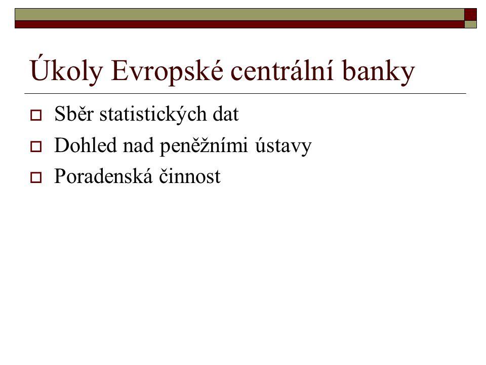 Úkoly Evropské centrální banky