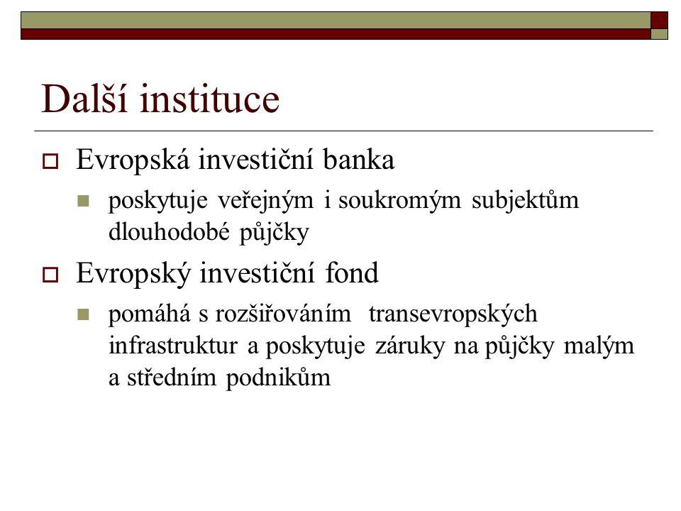 Další instituce Evropská investiční banka Evropský investiční fond
