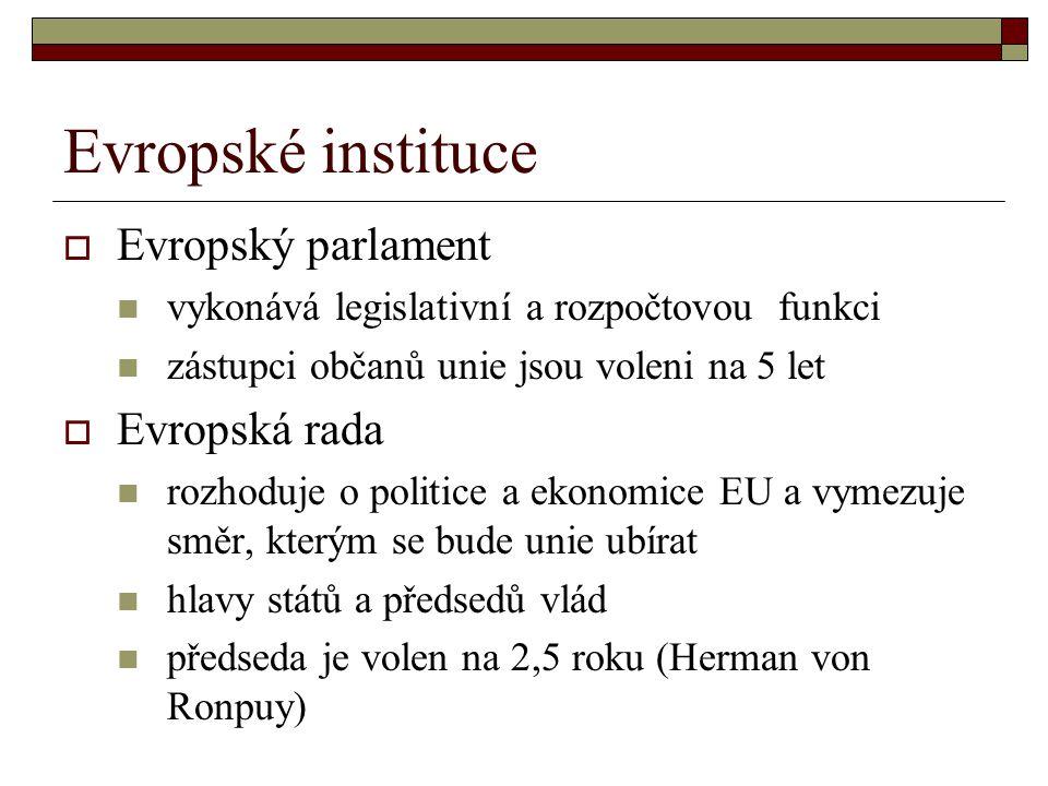 Evropské instituce Evropský parlament Evropská rada