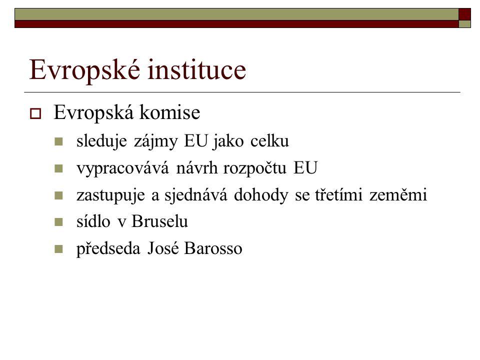 Evropské instituce Evropská komise sleduje zájmy EU jako celku