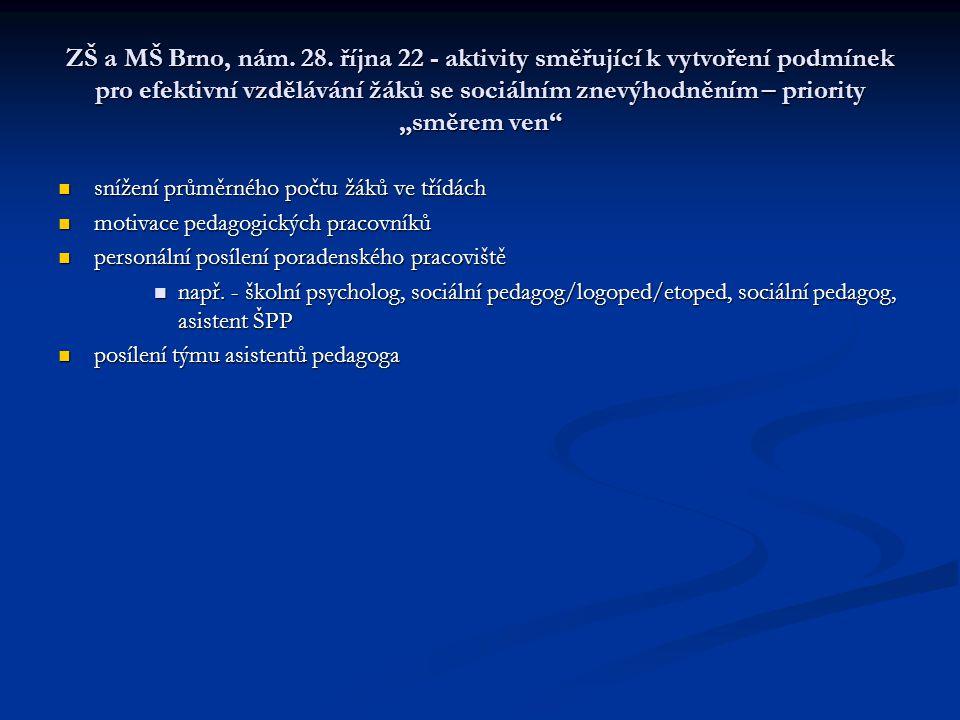 """ZŠ a MŠ Brno, nám. 28. října 22 - aktivity směřující k vytvoření podmínek pro efektivní vzdělávání žáků se sociálním znevýhodněním – priority """"směrem ven"""