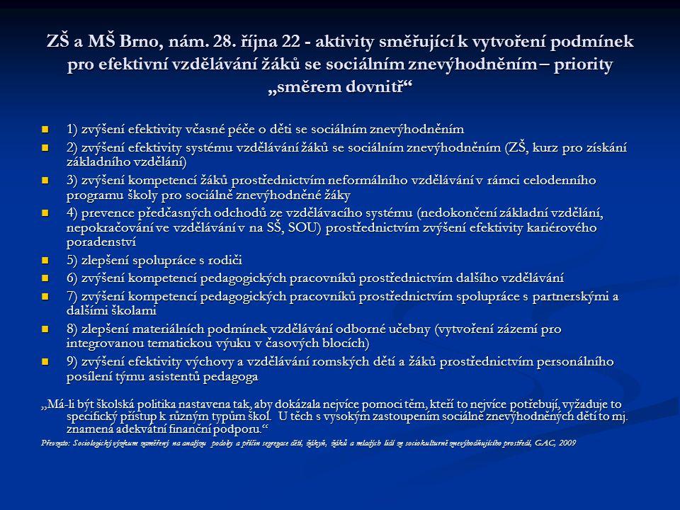 """ZŠ a MŠ Brno, nám. 28. října 22 - aktivity směřující k vytvoření podmínek pro efektivní vzdělávání žáků se sociálním znevýhodněním – priority """"směrem dovnitř"""