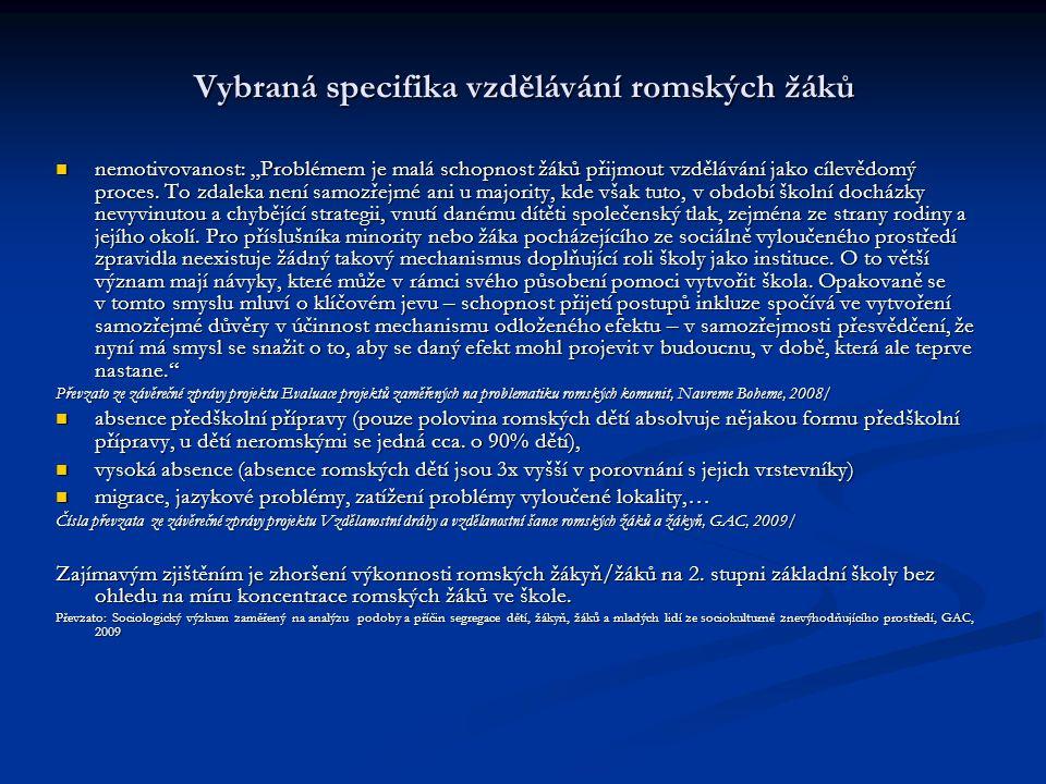 Vybraná specifika vzdělávání romských žáků