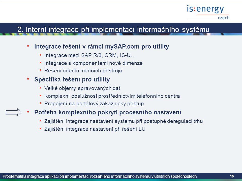 2. Interní integrace při implementaci informačního systému