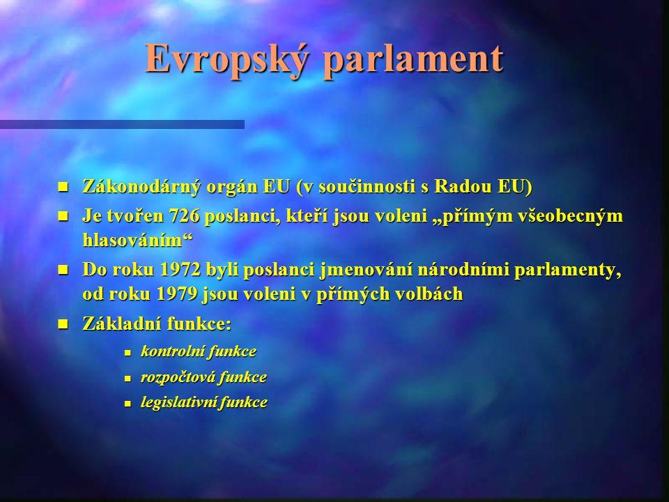 Evropský parlament Zákonodárný orgán EU (v součinnosti s Radou EU)