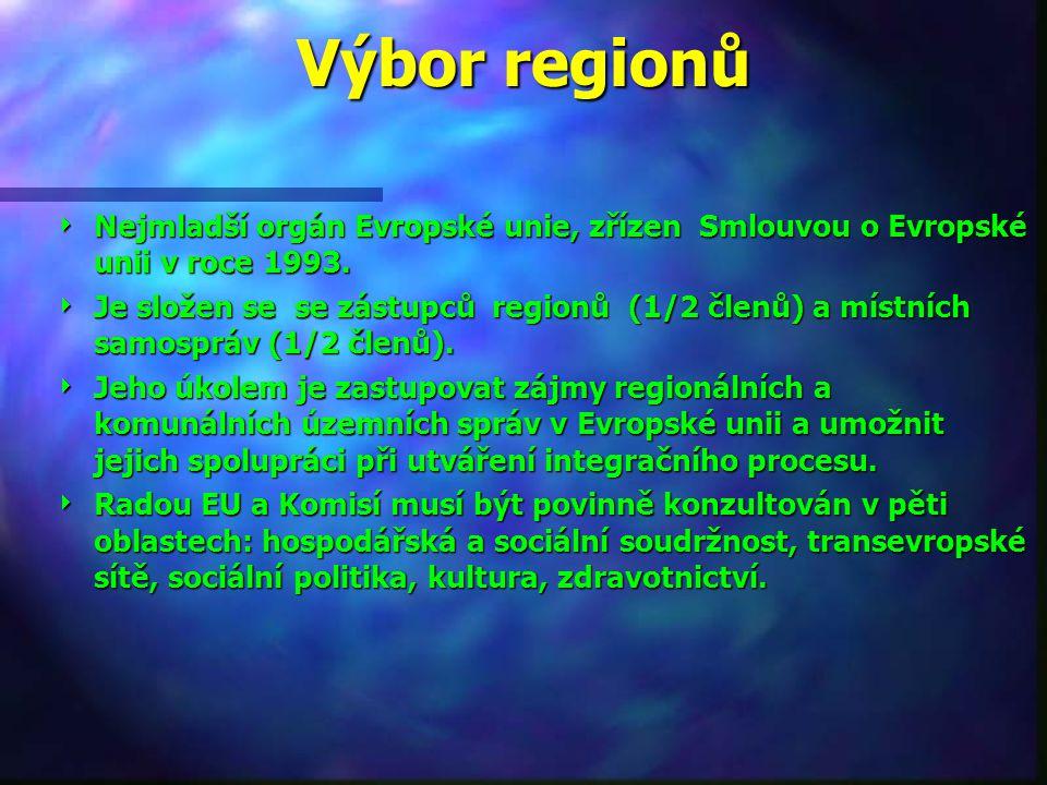 Výbor regionů Nejmladší orgán Evropské unie, zřízen Smlouvou o Evropské unii v roce 1993.