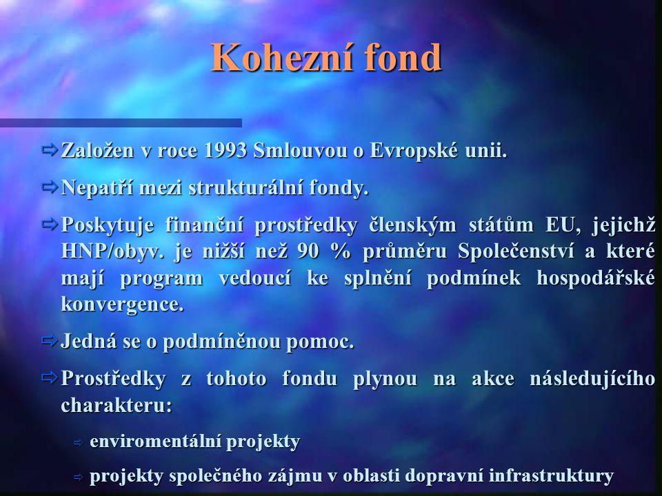 Kohezní fond Založen v roce 1993 Smlouvou o Evropské unii.