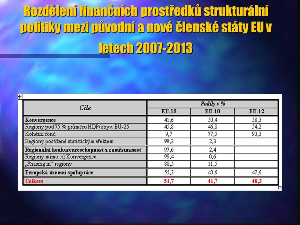 Rozdělení finančních prostředků strukturální politiky mezi původní a nové členské státy EU v letech 2007-2013