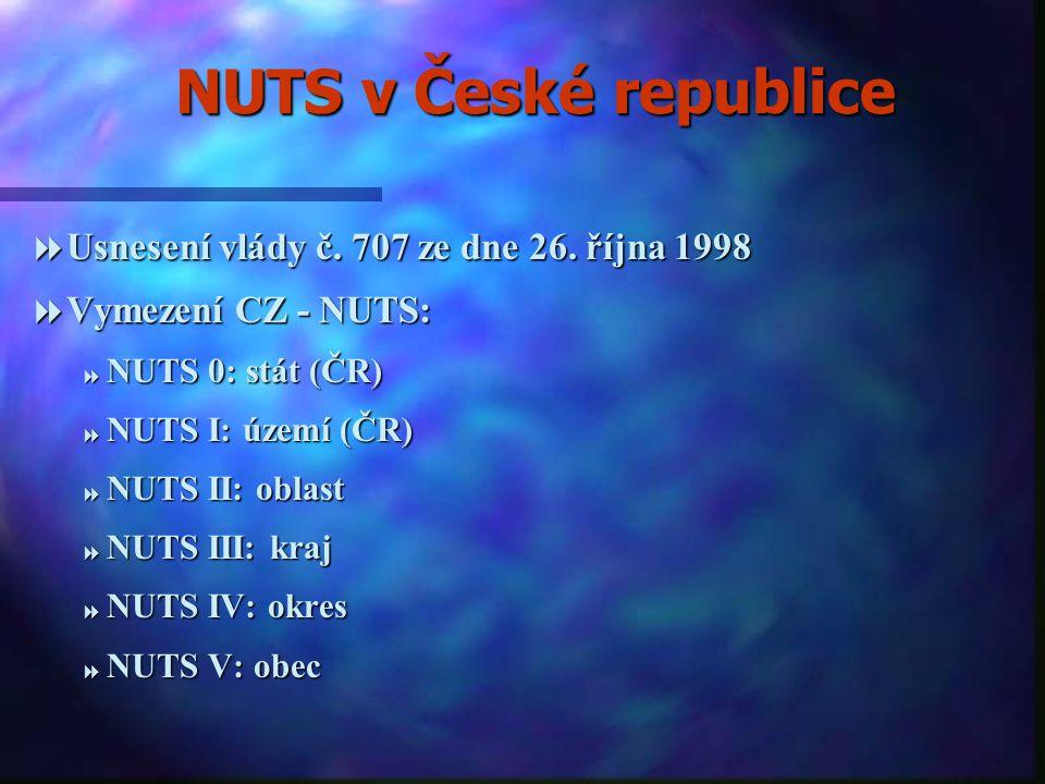 NUTS v České republice Usnesení vlády č. 707 ze dne 26. října 1998