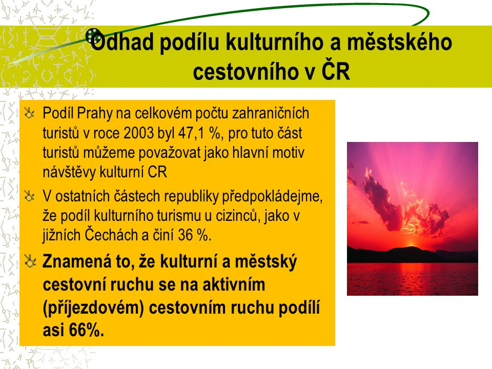 Odhad podílu kulturního a městského cestovního v ČR