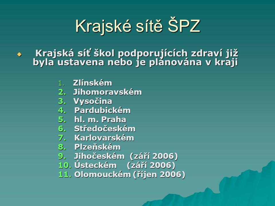 Krajské sítě ŠPZ Krajská síť škol podporujících zdraví již byla ustavena nebo je plánována v kraji.