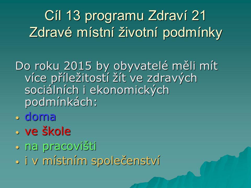 Cíl 13 programu Zdraví 21 Zdravé místní životní podmínky