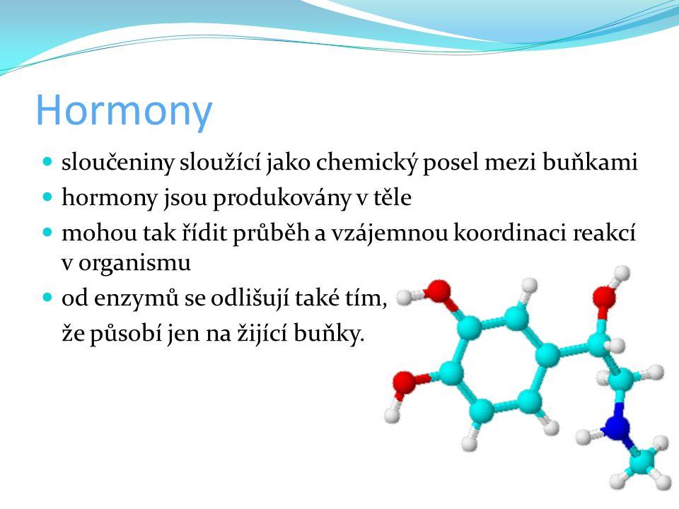 Hormony sloučeniny sloužící jako chemický posel mezi buňkami