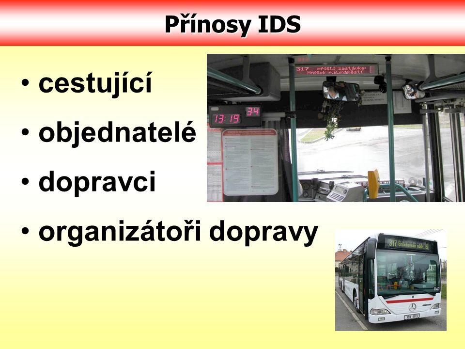 Přínosy IDS cestující objednatelé dopravci organizátoři dopravy