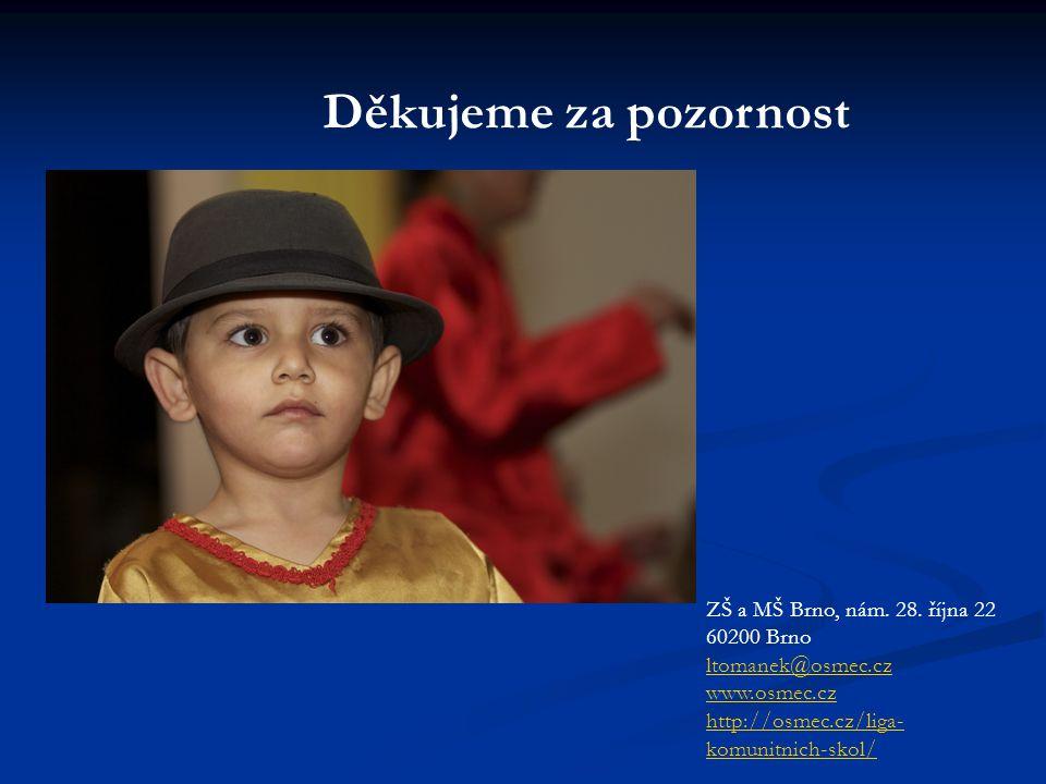 Děkujeme za pozornost ZŠ a MŠ Brno, nám. 28. října 22 60200 Brno