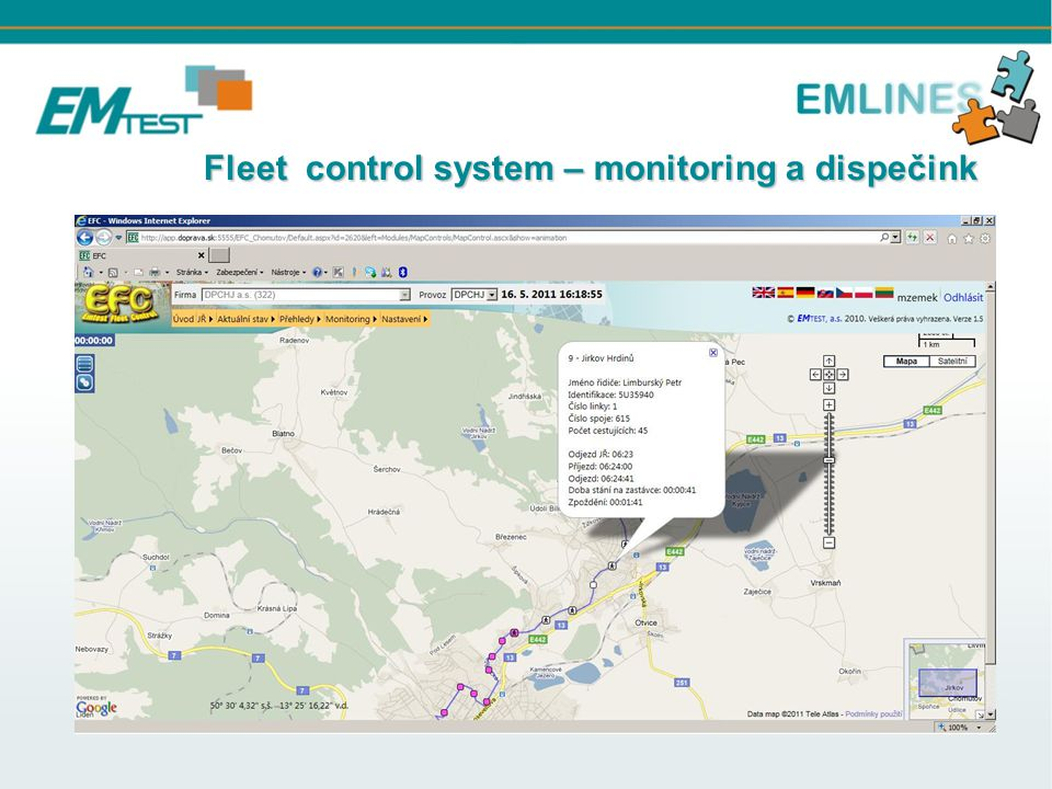 Fleet control system – monitoring a dispečink