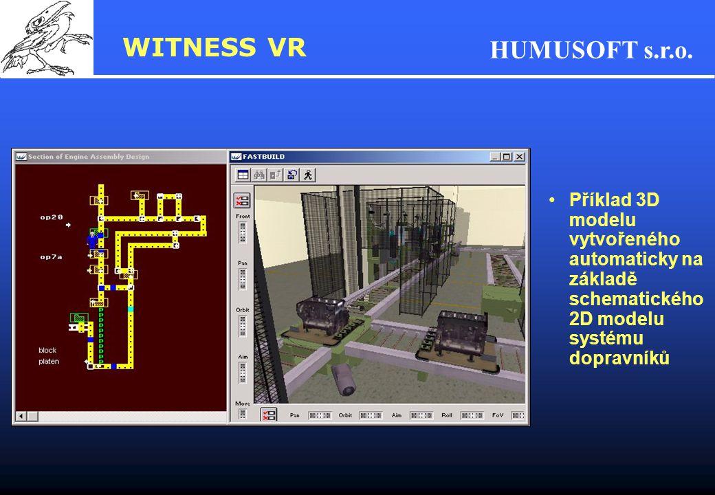 WITNESS VR Příklad 3D modelu vytvořeného automaticky na základě schematického 2D modelu systému dopravníků.