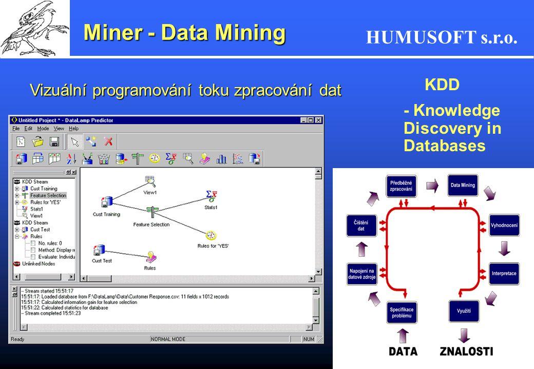 Miner - Data Mining Vizuální programování toku zpracování dat KDD