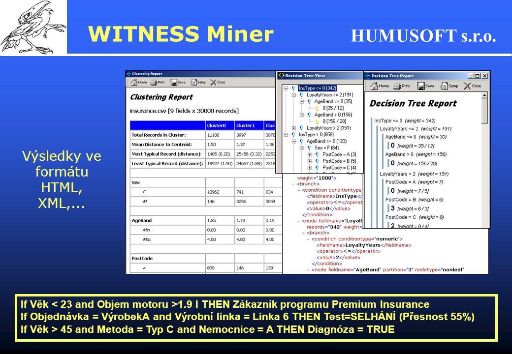 Výsledky ve formátu HTML, XML,...