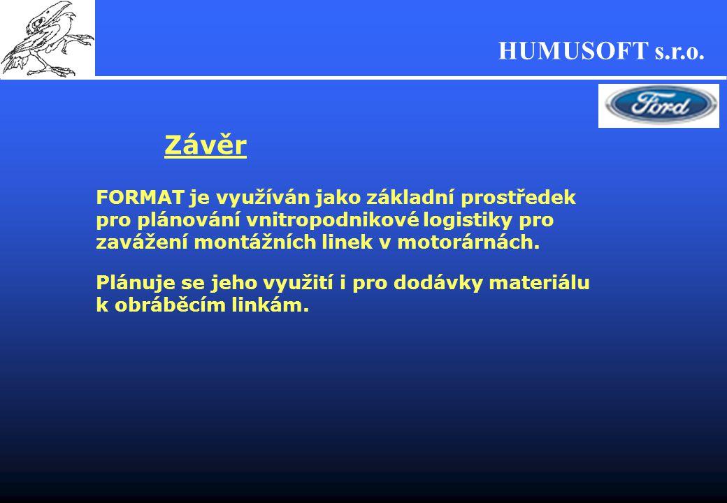 Závěr FORMAT je využíván jako základní prostředek pro plánování vnitropodnikové logistiky pro zavážení montážních linek v motorárnách.