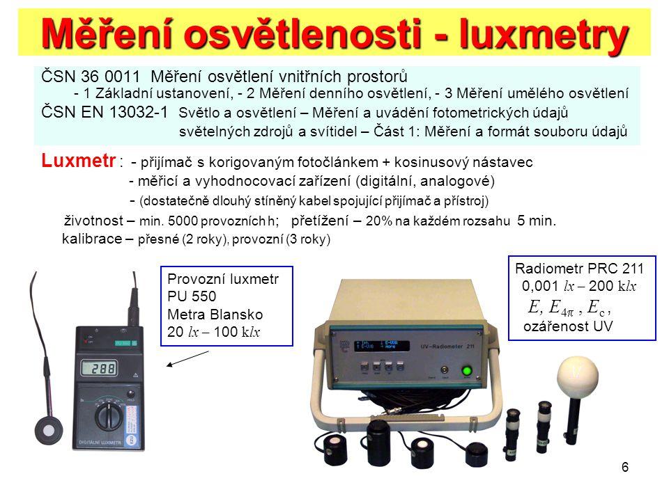 Měření osvětlenosti - luxmetry