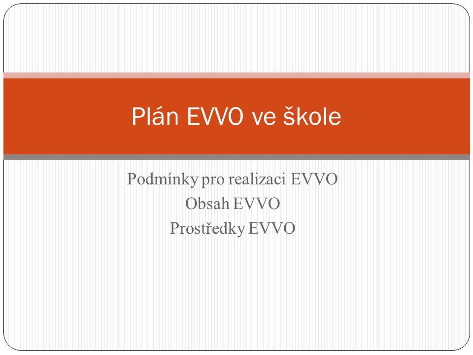 Podmínky pro realizaci EVVO Obsah EVVO Prostředky EVVO