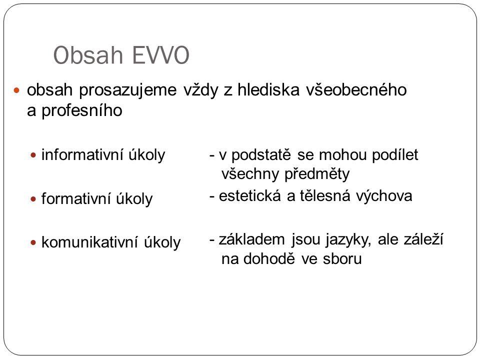 Obsah EVVO obsah prosazujeme vždy z hlediska všeobecného a profesního