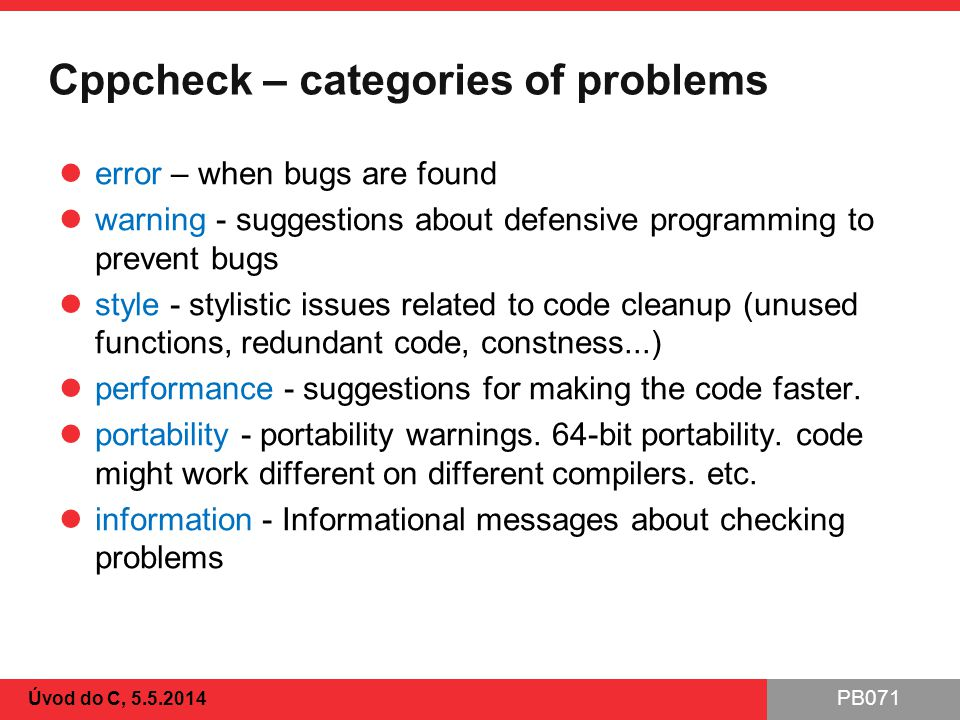 Cppcheck – categories of problems