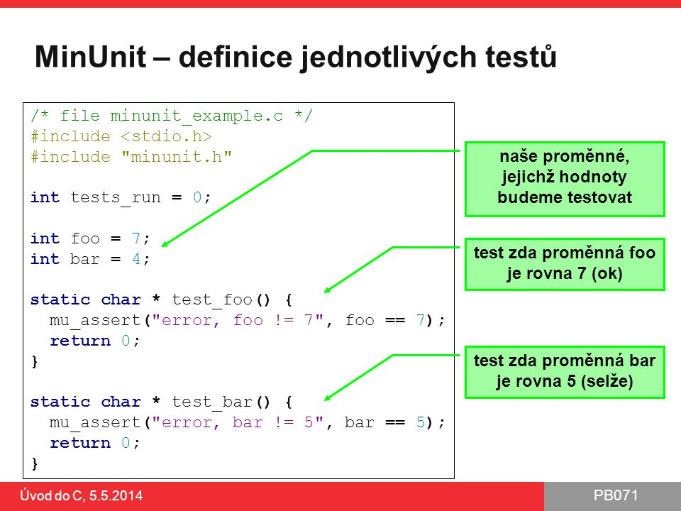 MinUnit – definice jednotlivých testů