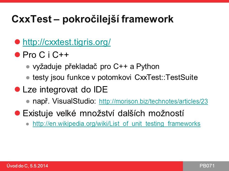 CxxTest – pokročilejší framework