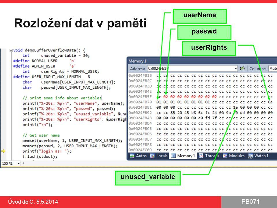 Rozložení dat v paměti userName passwd userRights unused_variable