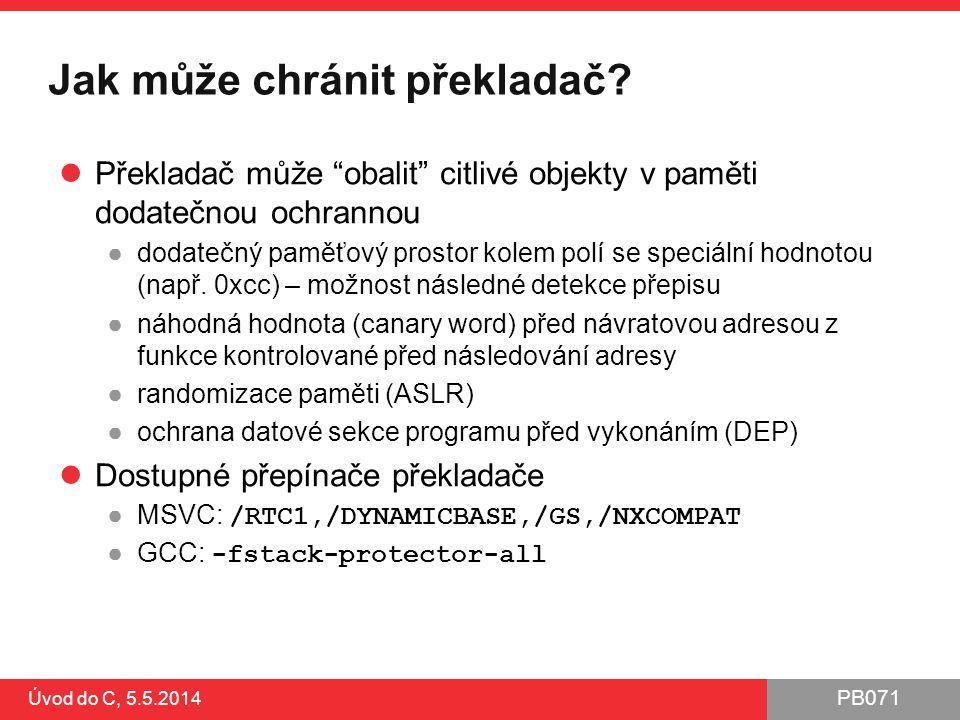 Jak může chránit překladač