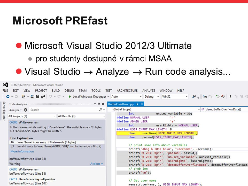 Microsoft PREfast Microsoft Visual Studio 2012/3 Ultimate
