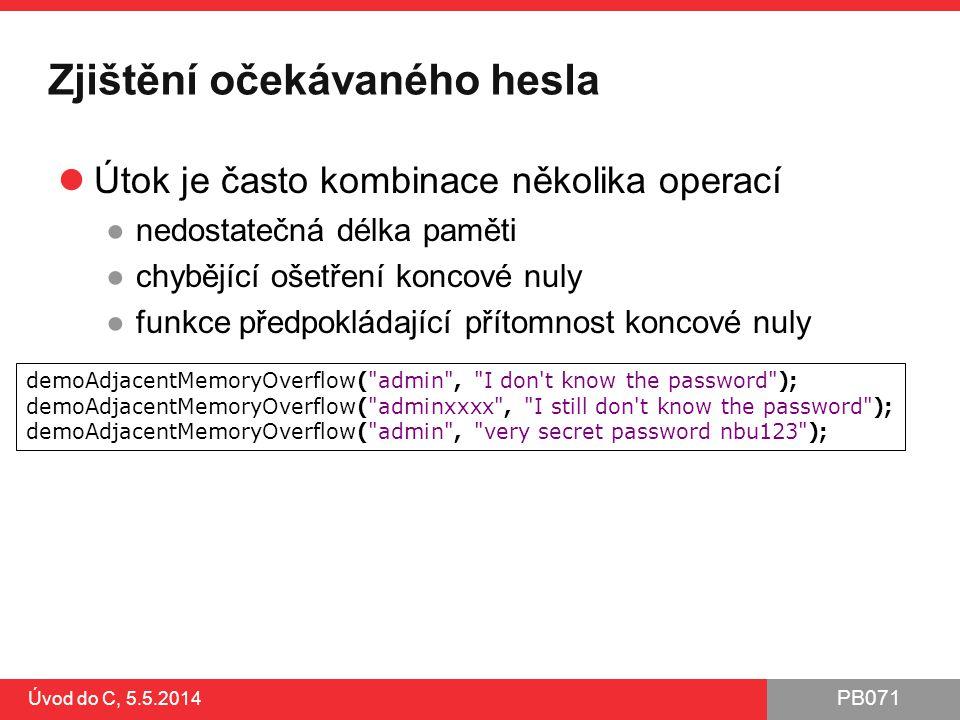 Zjištění očekávaného hesla