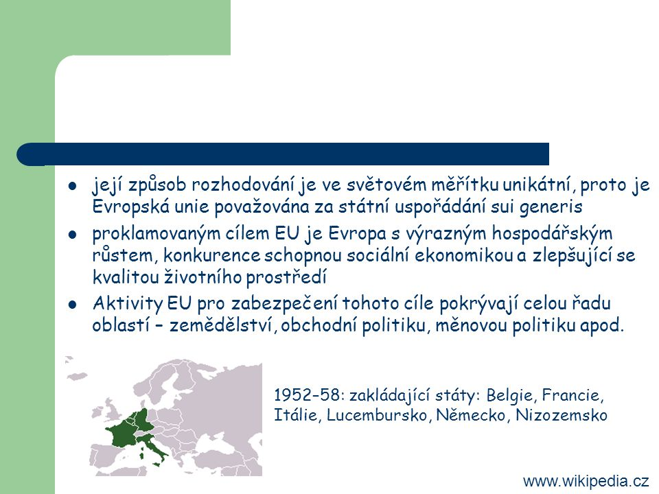její způsob rozhodování je ve světovém měřítku unikátní, proto je Evropská unie považována za státní uspořádání sui generis