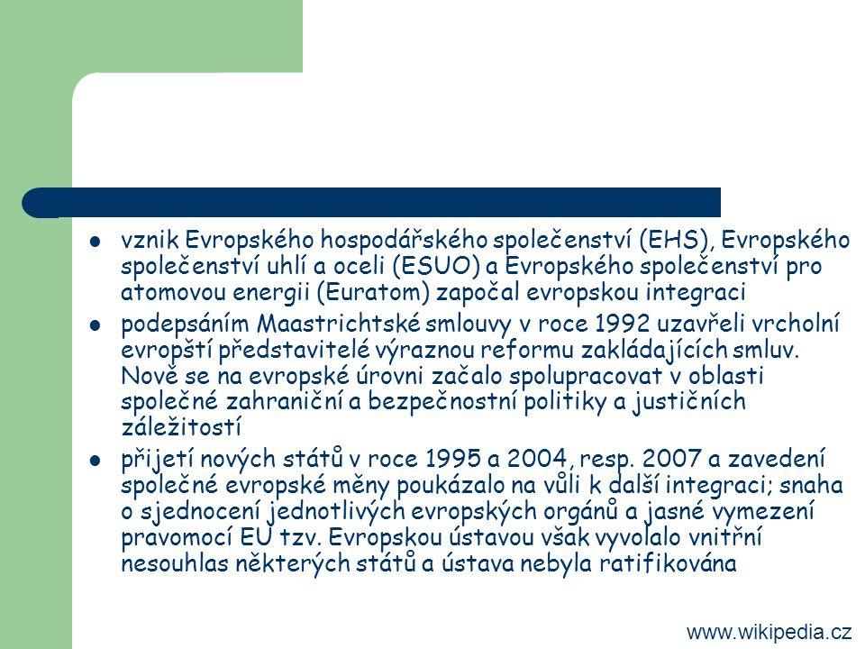vznik Evropského hospodářského společenství (EHS), Evropského společenství uhlí a oceli (ESUO) a Evropského společenství pro atomovou energii (Euratom) započal evropskou integraci