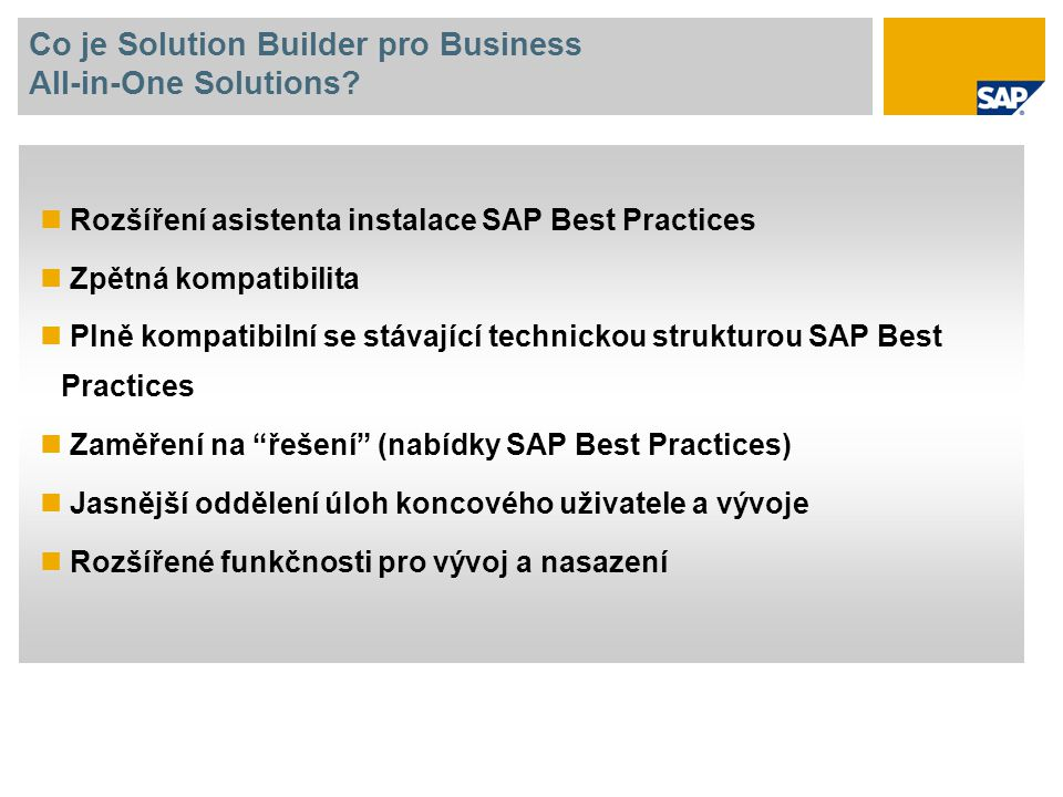 Co je Solution Builder pro Business All-in-One Solutions