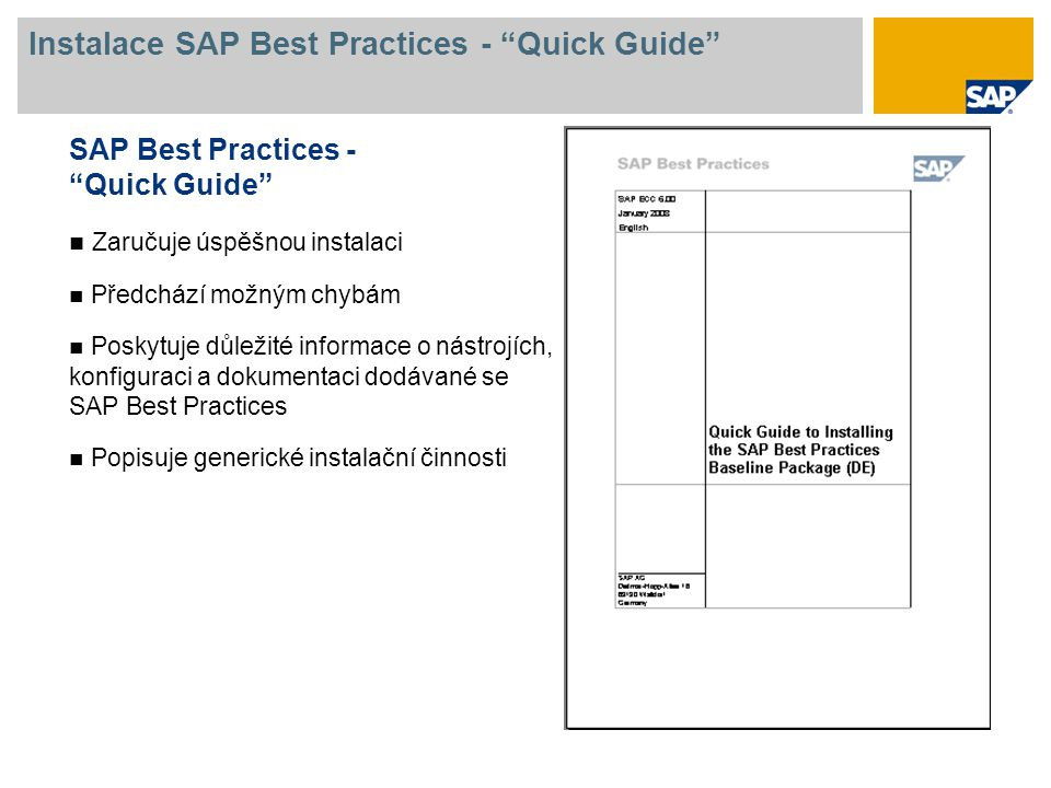 Instalace SAP Best Practices - Quick Guide
