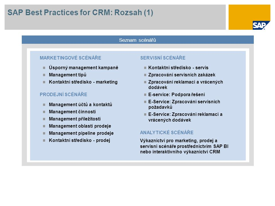 SAP Best Practices for CRM: Rozsah (1)