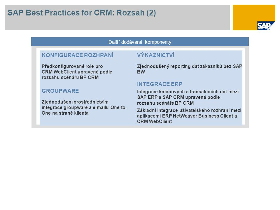 SAP Best Practices for CRM: Rozsah (2)