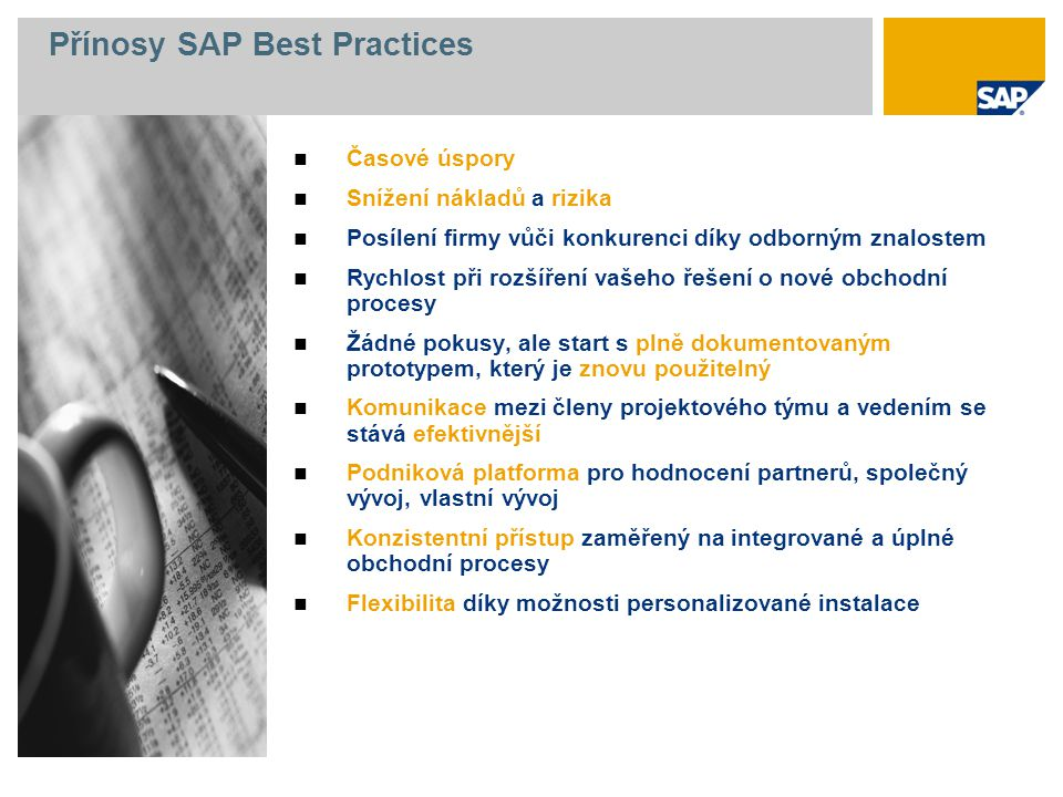 Přínosy SAP Best Practices