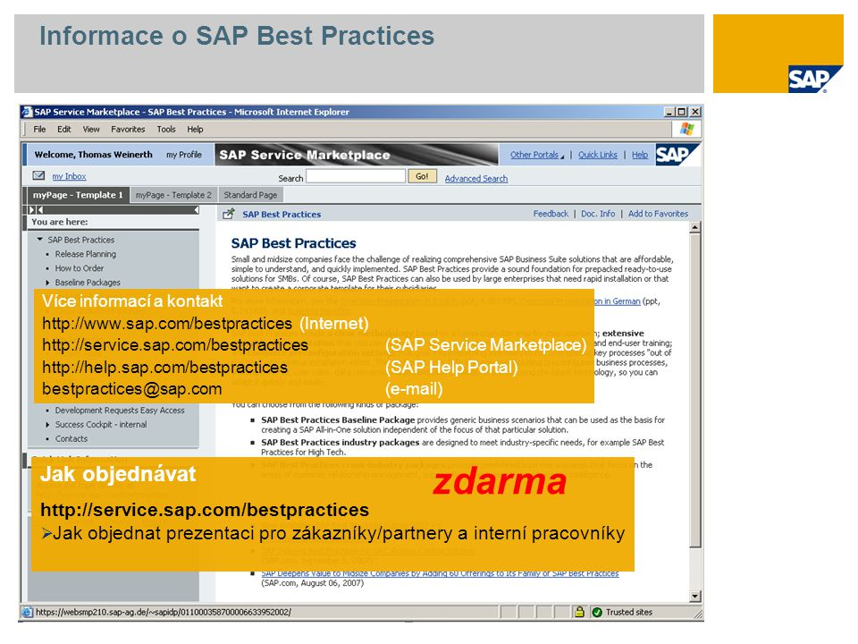 Informace o SAP Best Practices