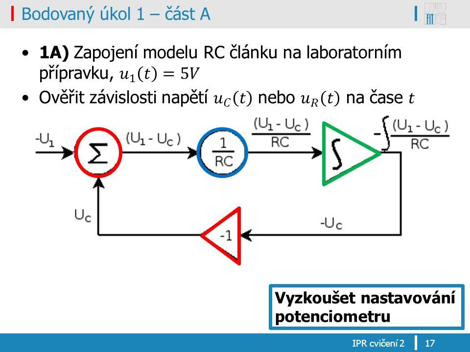 1A) Zapojení modelu RC článku na laboratorním přípravku, 𝑢 1 𝑡 =5𝑉