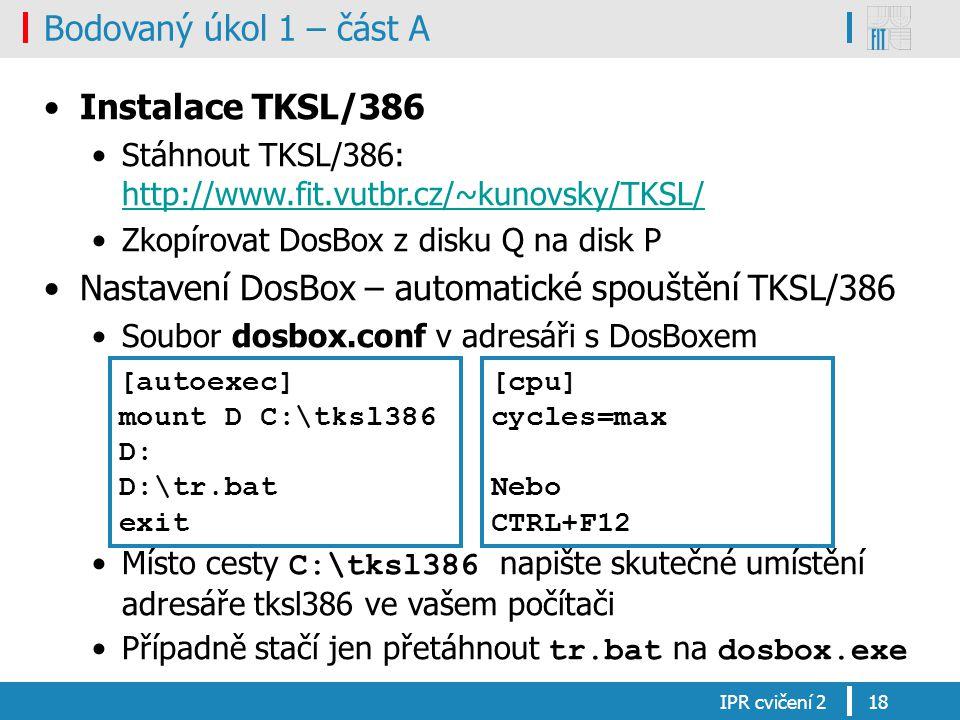 Nastavení DosBox – automatické spouštění TKSL/386