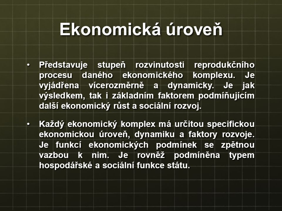 Ekonomická úroveň