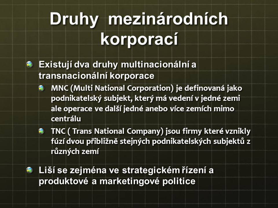 Druhy mezinárodních korporací