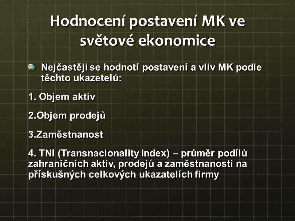 Hodnocení postavení MK ve světové ekonomice