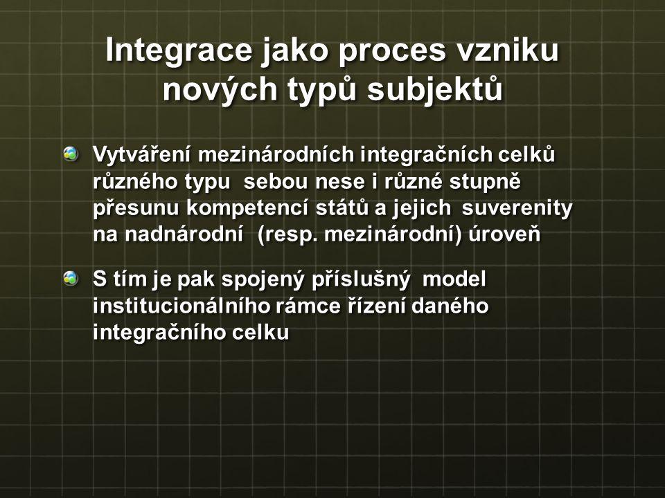 Integrace jako proces vzniku nových typů subjektů