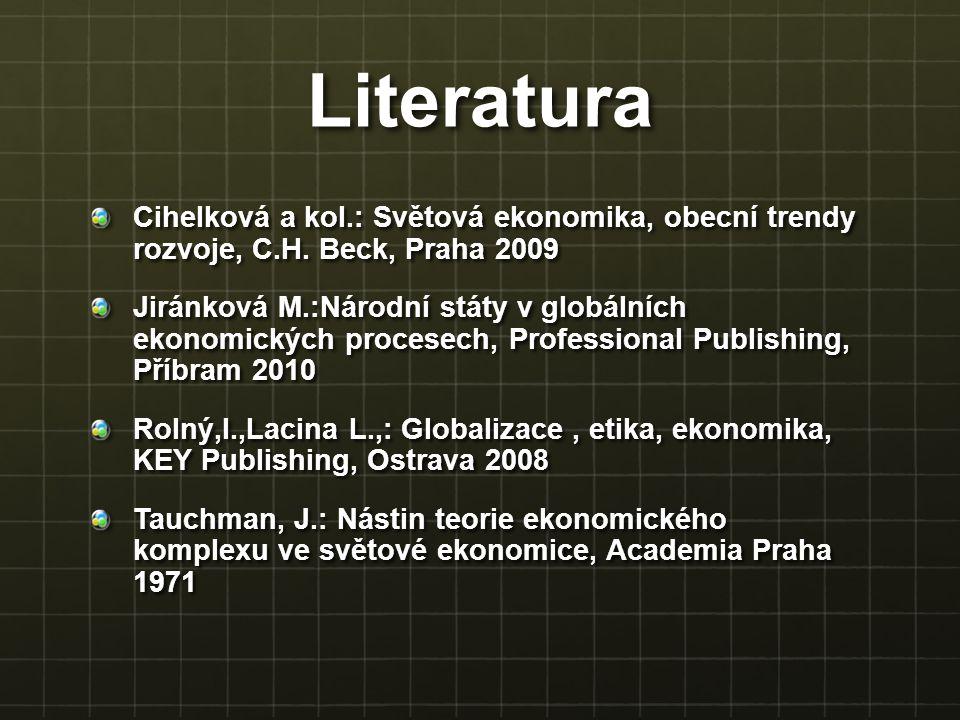 Literatura Cihelková a kol.: Světová ekonomika, obecní trendy rozvoje, C.H. Beck, Praha 2009.